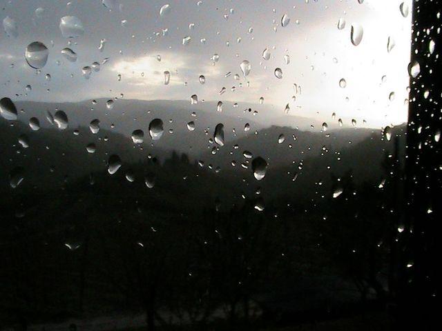 Sodden scene of Chianti Hills - sob :-(