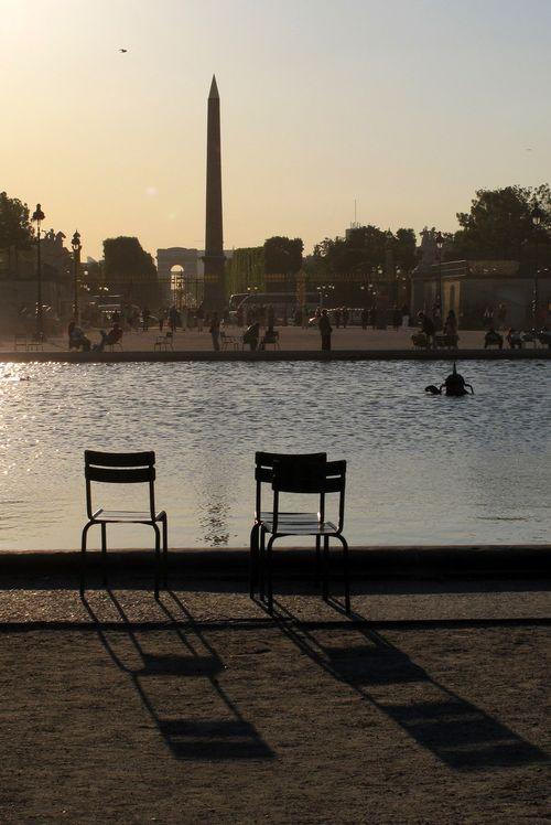 Sunset over pond in Tuileries Garden