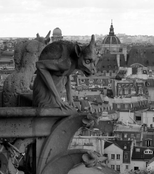 Gargoyles at top of Notre Dame Cathedral