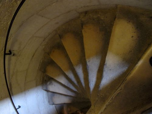 Cheese like stairs you climb up to Notre Dame's roof
