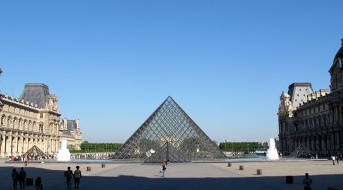 The pyramid above the main entrance to Louvre