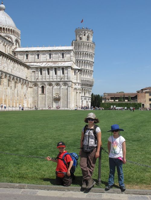 The wee three near the leaning tower in Pisa