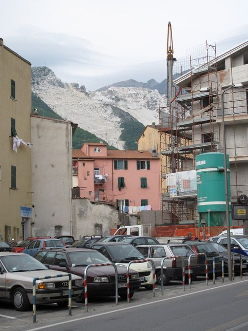 View of marble mountains from town of Carrara