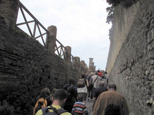 The crush of tour groups heading into Pompeii excavations