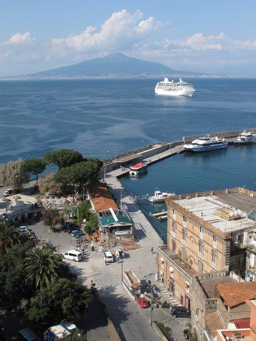 Sorrento Harbour with Mt Vesuvius in background
