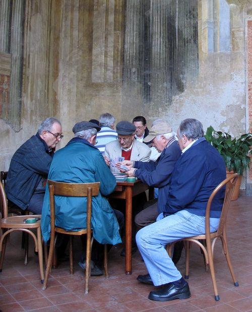 Italian men at cards in Sorrento
